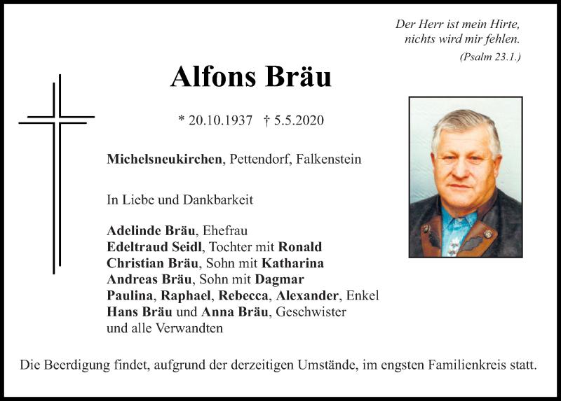 Traueranzeige für Alfons Bräu vom 07.05.2020 aus Bayerwald Echo