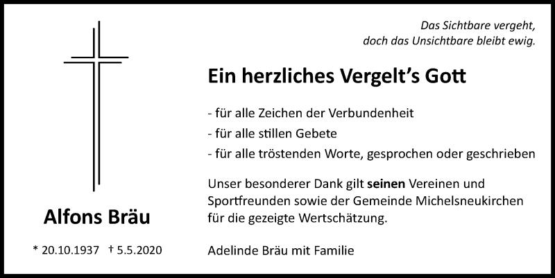 Traueranzeige für Alfons Bräu vom 23.05.2020 aus Bayerwald Echo