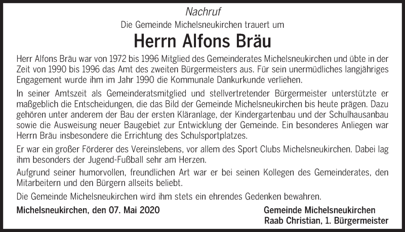 Traueranzeige für Alfons Bräu vom 08.05.2020 aus Bayerwald Echo
