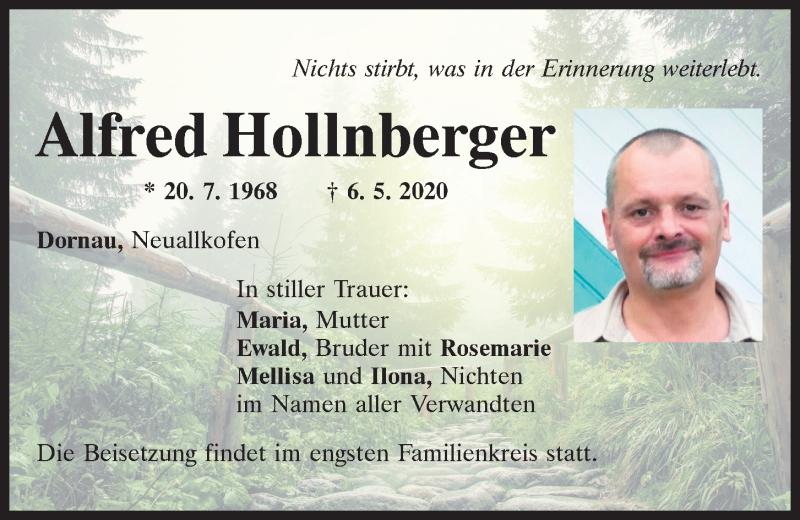 Traueranzeige für Alfred Hollnberger vom 09.05.2020 aus Mittelbayerische Zeitung Regensburg