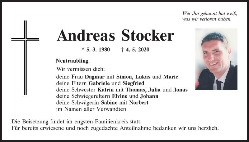 Traueranzeige für Andreas Stocker vom 13.05.2020 aus Mittelbayerische Zeitung Regensburg