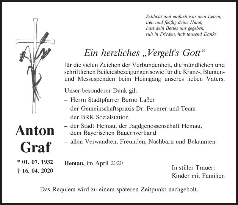 Traueranzeige für Anton Graf vom 02.05.2020 aus Mittelbayerische Zeitung Regensburg