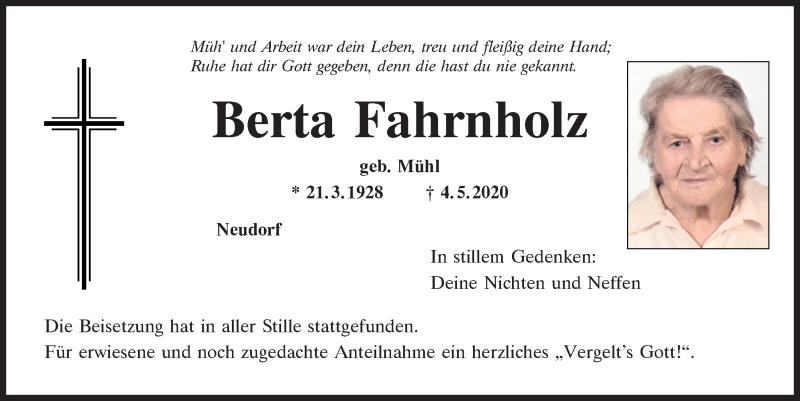 Traueranzeige für Berta Fahrnholz vom 09.05.2020 aus Mittelbayerische Zeitung Regensburg