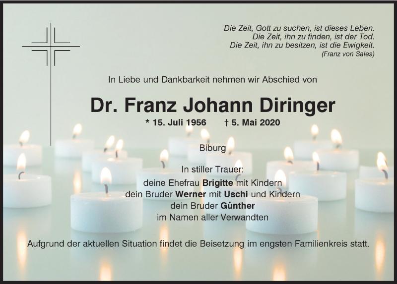 Traueranzeige für Franz Johann Diringer vom 09.05.2020 aus Mittelbayerische Zeitung Kelheim