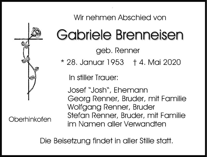 Traueranzeige für Gabriele Brenneisen vom 06.05.2020 aus Mittelbayerische Zeitung Regensburg