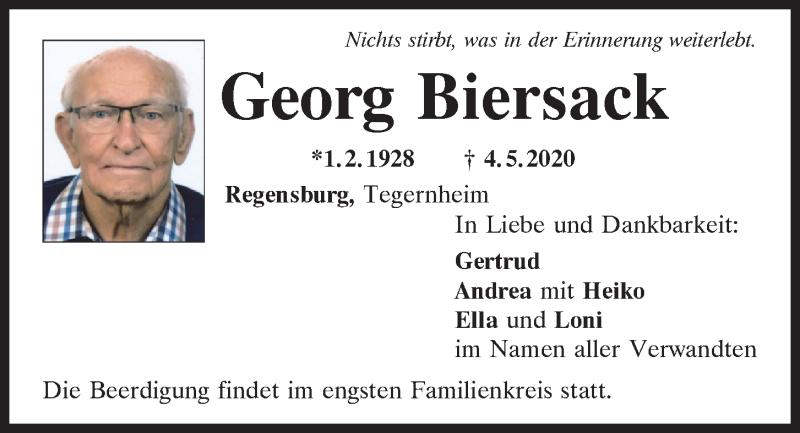 Traueranzeige für Georg Biersack vom 09.05.2020 aus Mittelbayerische Zeitung Regensburg
