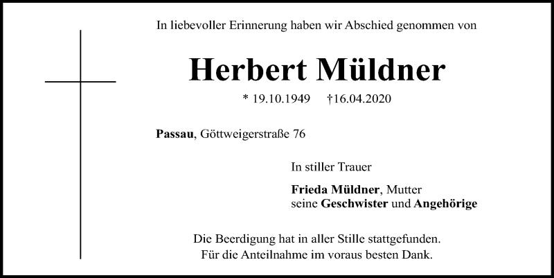 Traueranzeige für Herbert Müldner vom 09.05.2020 aus Mittelbayerische Zeitung Regensburg