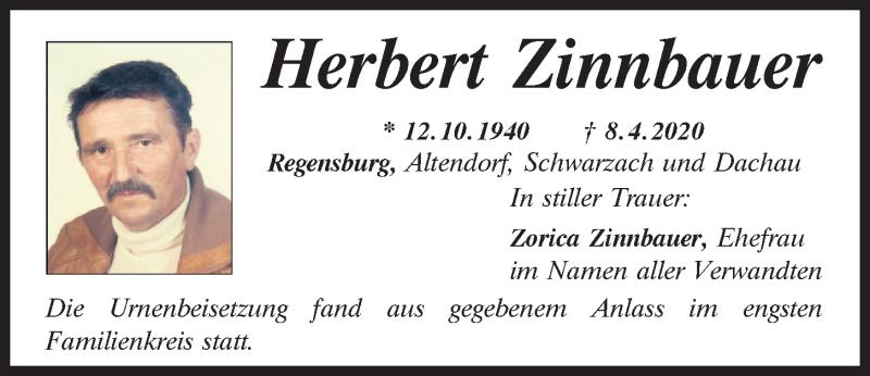 Traueranzeige für Herbert Zinnbauer vom 16.05.2020 aus Mittelbayerische Zeitung Regensburg