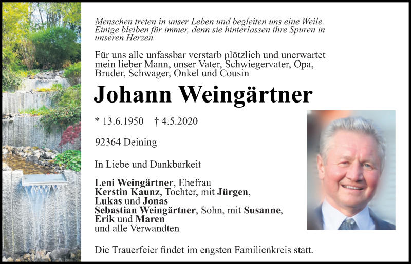 Traueranzeige für Johann Weingärtner vom 30.05.2020 aus Neumarkter Tagblatt