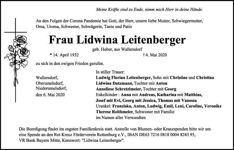 Traueranzeige für Lidwina Leitenberger vom 06.05.2020 aus Mittelbayerische Zeitung Kelheim