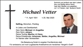 Traueranzeige von Michael Vetter von Mittelbayerische Zeitung Schwandorf