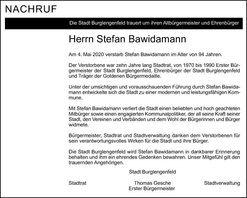 Traueranzeige für Stefan Bawidamann vom 05.05.2020 aus Mittelbayerische Zeitung Schwandorf