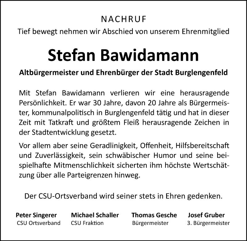 Traueranzeige für Stefan Bawidamann vom 07.05.2020 aus Mittelbayerische Zeitung Schwandorf