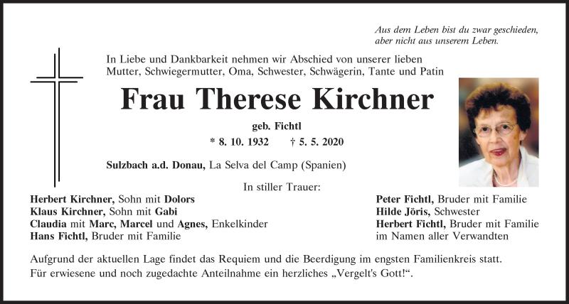 Traueranzeige für Therese Kirchner vom 07.05.2020 aus Mittelbayerische Zeitung Regensburg