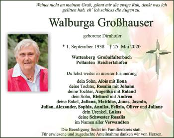 Traueranzeige von Walburga Großhauser von Neumarkter Tagblatt