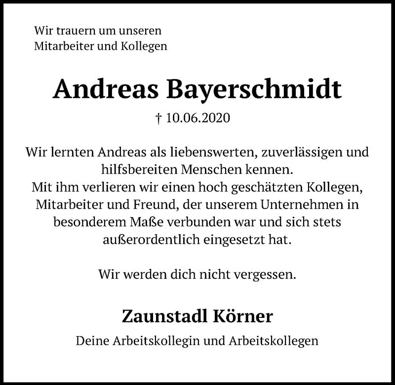 Traueranzeige für Andreas Bayerschmidt vom 16.06.2020 aus Neumarkter Tagblatt