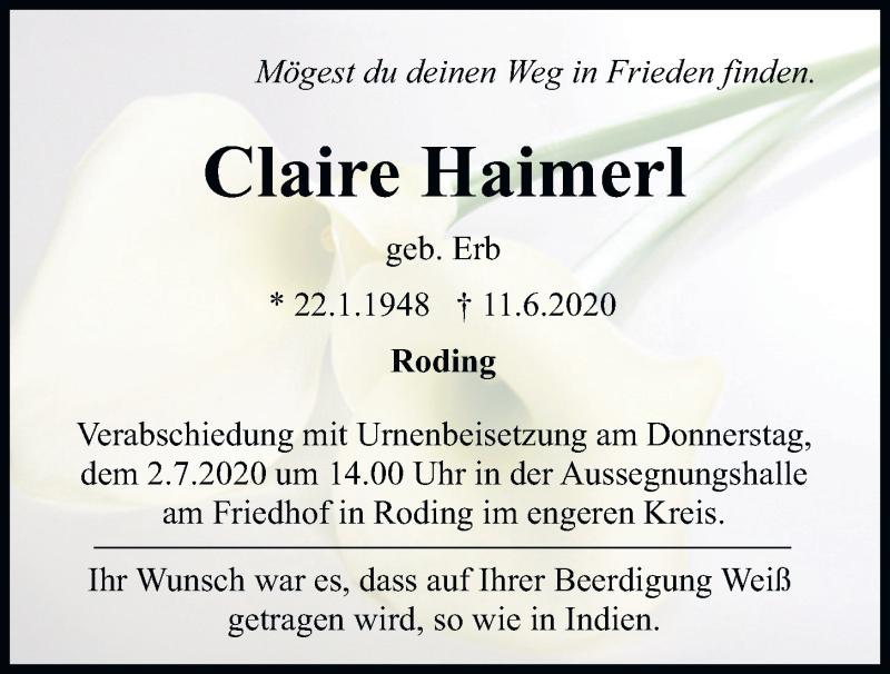 Traueranzeige für Claire Haimerl vom 30.06.2020 aus Bayerwald Echo