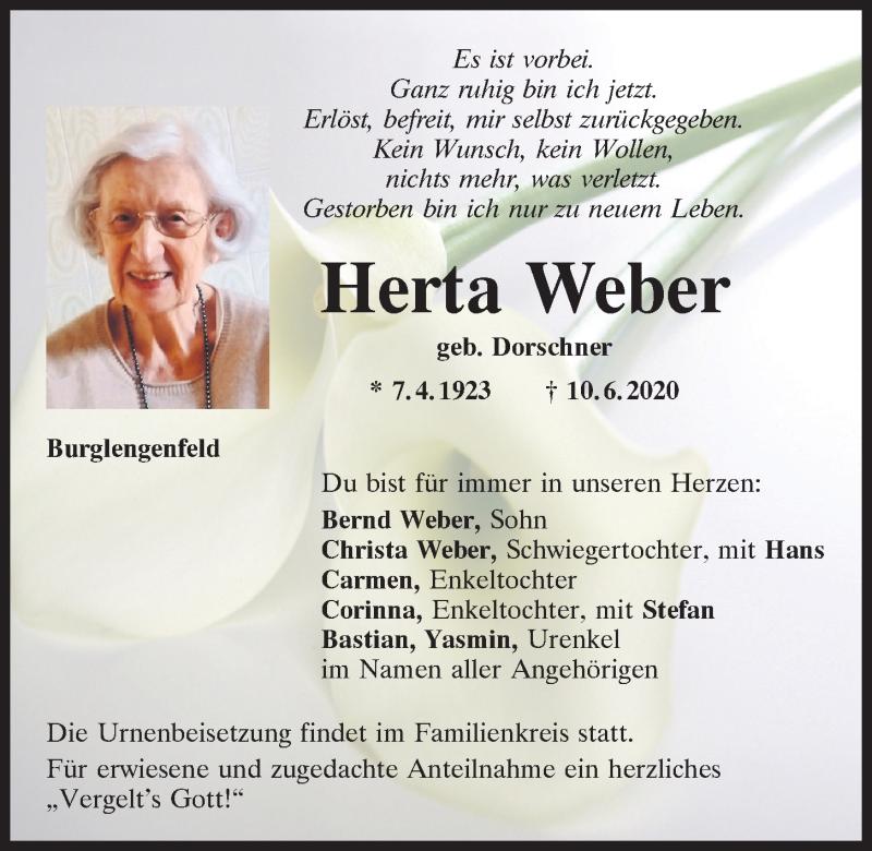 Traueranzeige für Herta Weber vom 13.06.2020 aus Mittelbayerische Zeitung Schwandorf
