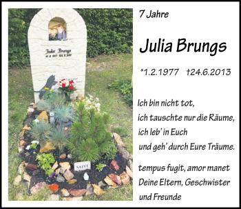 Traueranzeige von Julia Brungs von Mittelbayerische Zeitung Regensburg