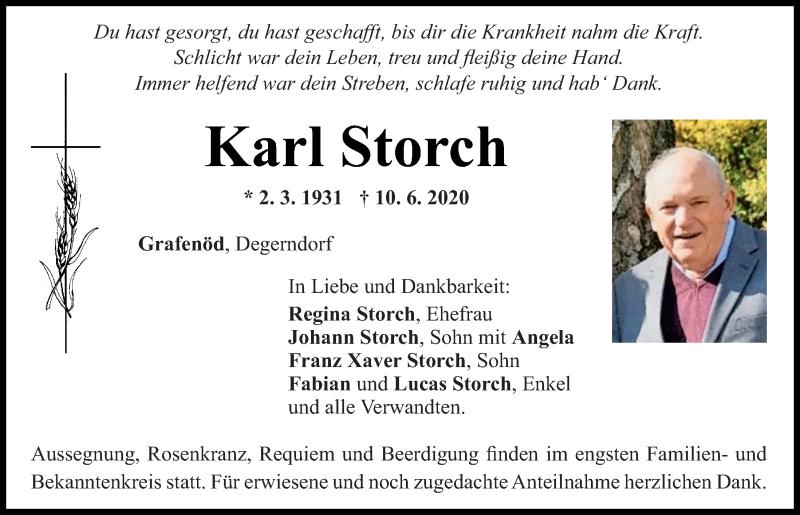 Traueranzeige für Karl Storch vom 12.06.2020 aus Mittelbayerische Zeitung Regensburg