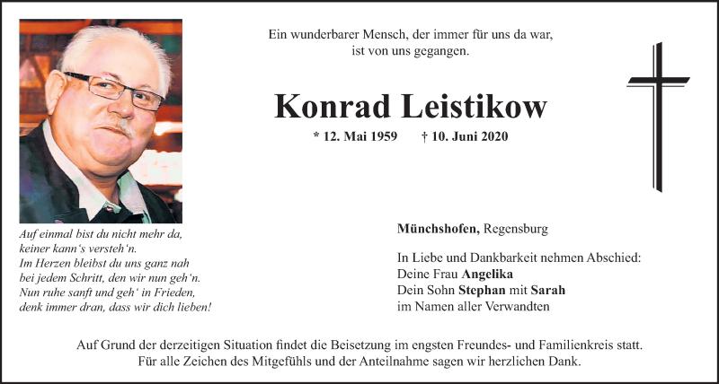 Traueranzeige für Konrad Leistikow vom 17.06.2020 aus Mittelbayerische Zeitung Schwandorf