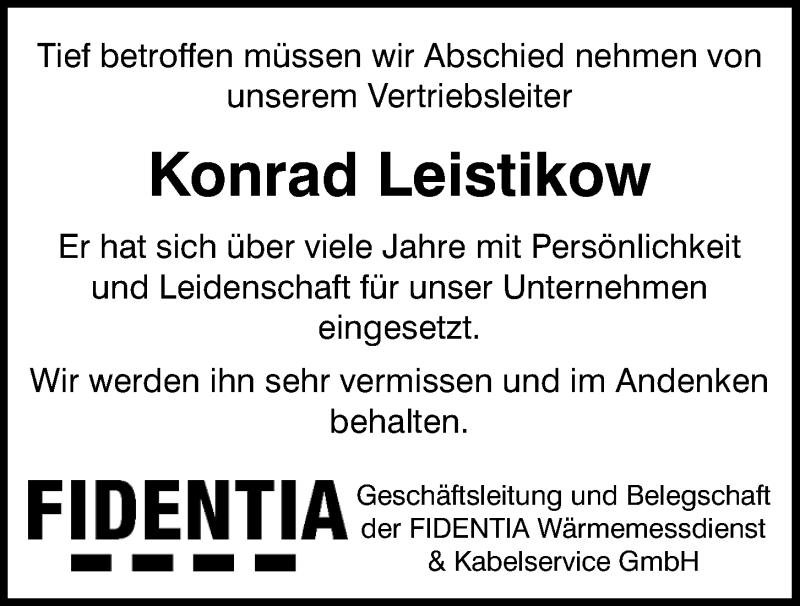 Traueranzeige für Konrad Leistikow vom 18.06.2020 aus Mittelbayerische Zeitung Regensburg