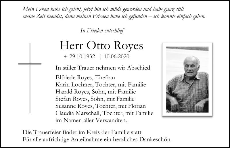 Traueranzeige für Otto Royes vom 13.06.2020 aus Mittelbayerische Zeitung Regensburg