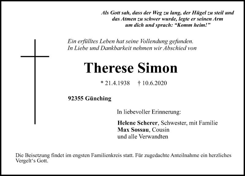 Traueranzeige für Therese Simon vom 13.06.2020 aus Neumarkter Tagblatt