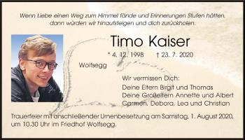 Traueranzeige von Timo Kaiser von Mittelbayerische Zeitung Regensburg