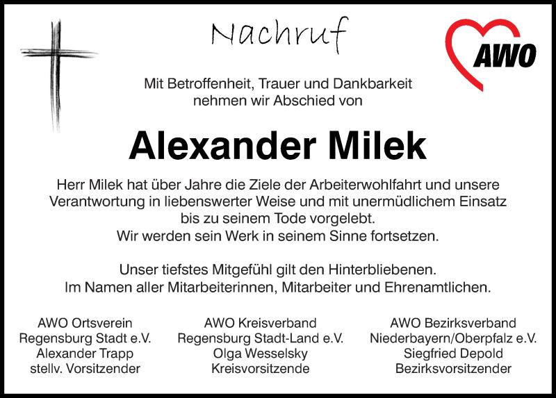 Traueranzeige für Alexander Milek vom 04.07.2020 aus Mittelbayerische Zeitung Regensburg