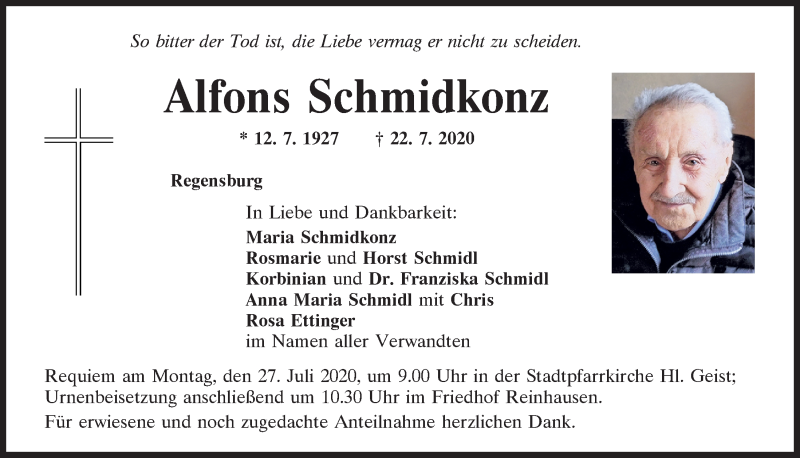 Traueranzeige für Alfons Schmidkonz vom 25.07.2020 aus Mittelbayerische Zeitung Regensburg
