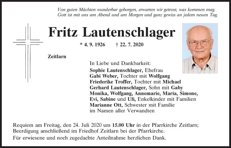 Traueranzeige für Fritz Lautenschlager vom 23.07.2020 aus Mittelbayerische Zeitung Regensburg