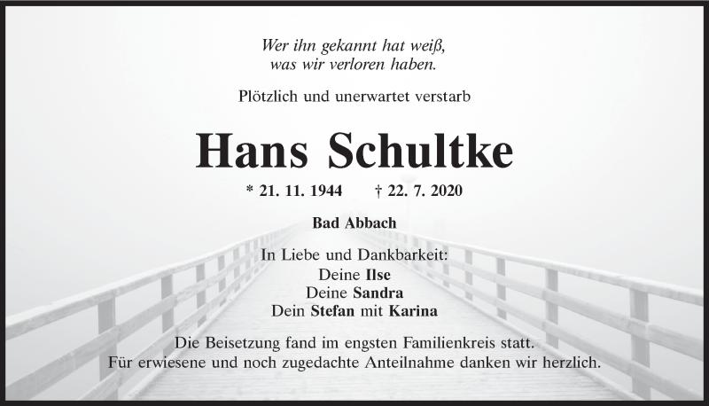 Traueranzeige für Hans Schultke vom 01.08.2020 aus Mittelbayerische Zeitung Regensburg