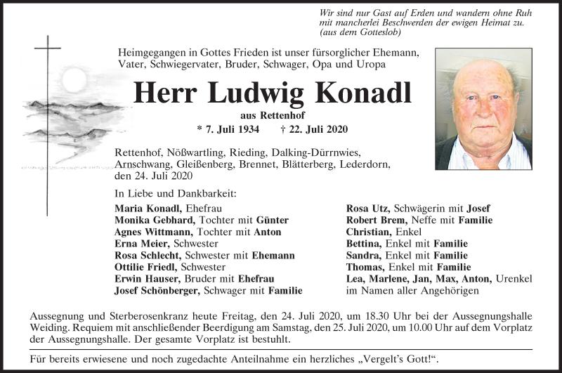 Traueranzeige für Ludwig Konadl vom 24.07.2020 aus Bayerwald Echo