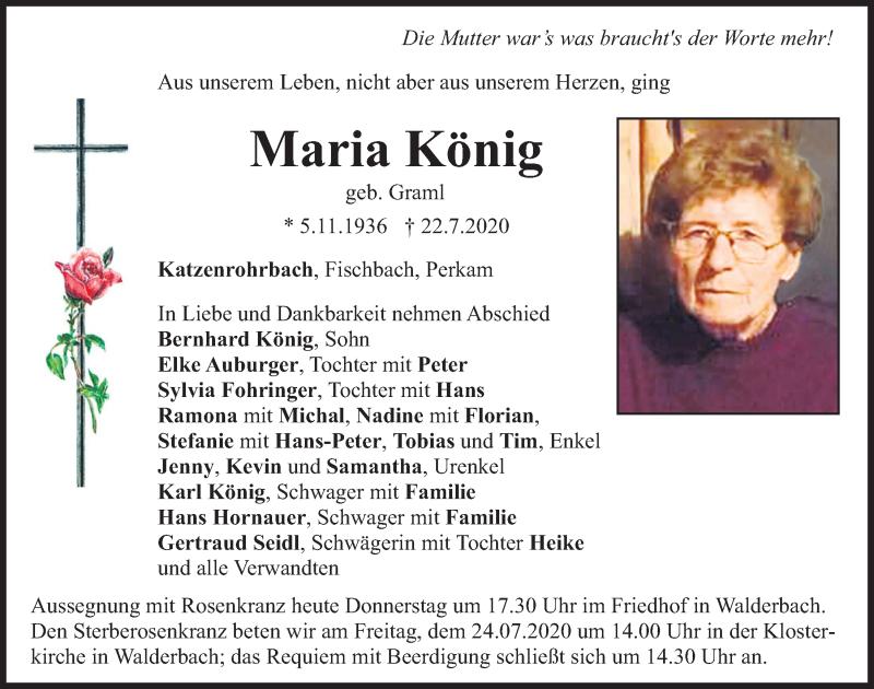 Traueranzeige für Maria König vom 23.07.2020 aus Bayerwald Echo
