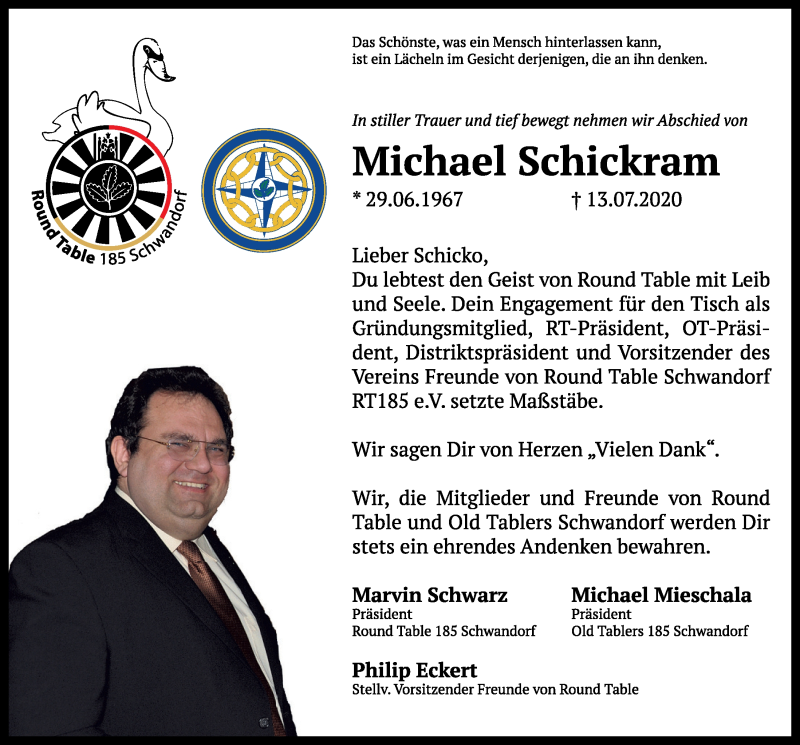 Traueranzeige für Michael Schickram vom 18.07.2020 aus Mittelbayerische Zeitung Schwandorf