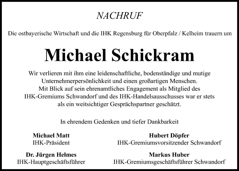 Traueranzeige für Michael Schickram vom 15.07.2020 aus Mittelbayerische Zeitung Schwandorf