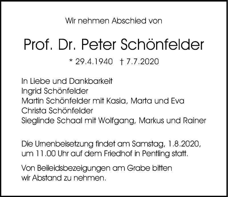 Traueranzeige für Peter Schönfelder vom 25.07.2020 aus Mittelbayerische Zeitung Regensburg