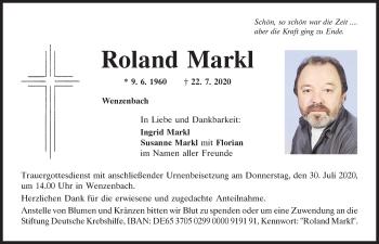 Traueranzeige von Roland Markl von Mittelbayerische Zeitung Regensburg