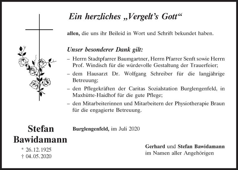 Traueranzeige für Stefan Bawidamann vom 11.07.2020 aus Mittelbayerische Zeitung Schwandorf