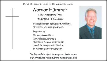 Traueranzeige von Werner Hümmer von Mittelbayerische Zeitung Regensburg