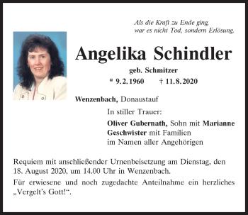 Traueranzeige von Angelika Schindler von Mittelbayerische Zeitung Regensburg