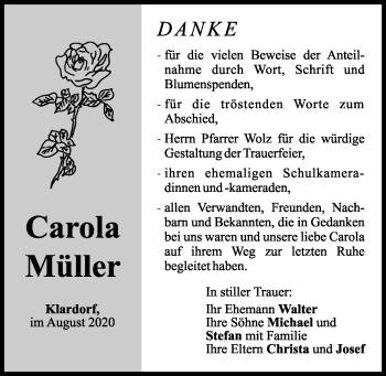 Traueranzeige von Carola Müller von Mittelbayerische Zeitung Schwandorf