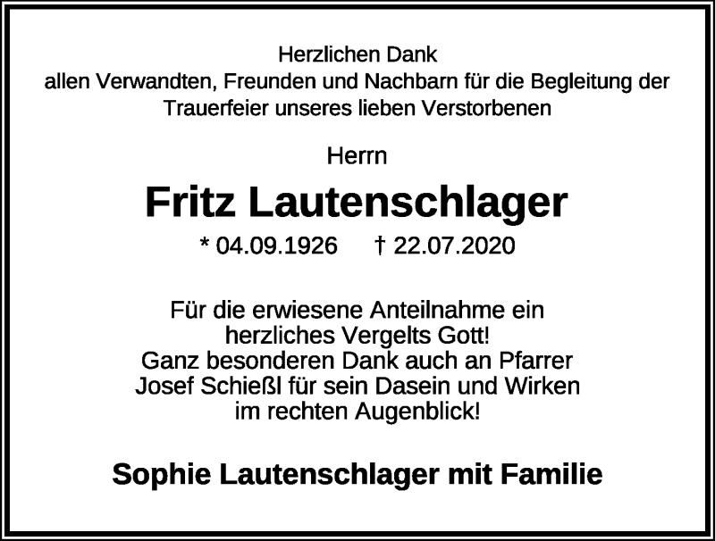 Traueranzeige für Fritz Lautenschlager vom 05.08.2020 aus Mittelbayerische Zeitung Regensburg