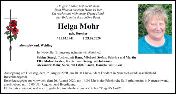 Traueranzeige von Helga Mohr von Mittelbayerische Zeitung Schwandorf
