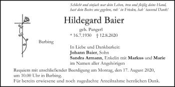 Traueranzeige von Hildegard Baier von Mittelbayerische Zeitung Regensburg