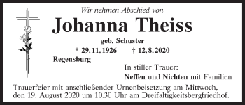 Traueranzeige von Johanna Theiss von Mittelbayerische Zeitung Regensburg