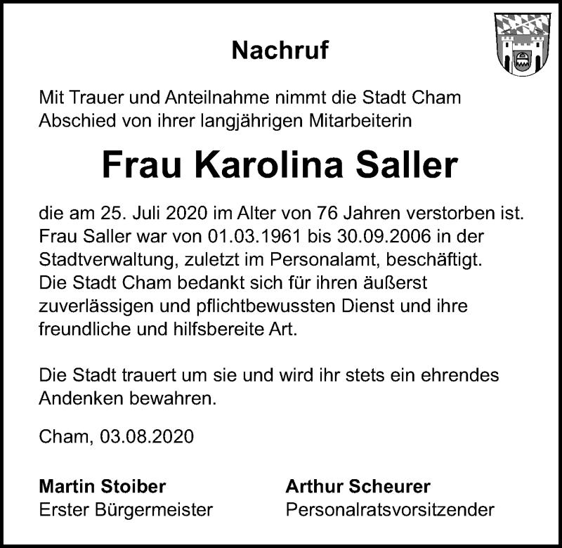 Traueranzeige für Karolina Saller vom 04.08.2020 aus Bayerwald Echo