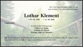 Traueranzeige von Lothar Klement von Mittelbayerische Zeitung Regensburg