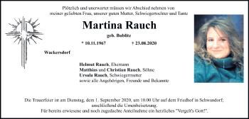 Traueranzeige von Martina Rauch von Mittelbayerische Zeitung Schwandorf